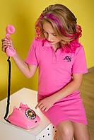 Розовое платье поло на девочку рост 134-176
