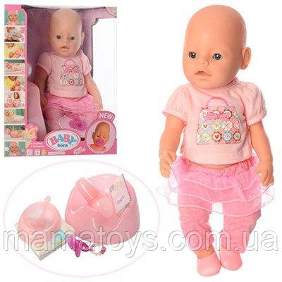 Пупс Беби Baby 8006-457 Рост 42 см, бутылочка, горшок, соска - магн,тарелка, ложка, каша, подг
