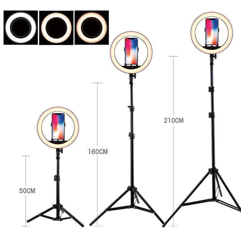 Кольцевая лампа для предметной съемки 26 см светодиодная с штативом 210 см и держателем для телефона