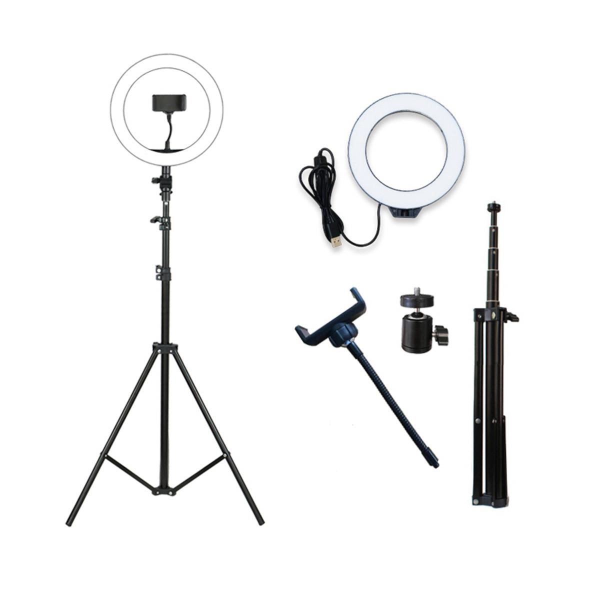 Кольцевая лампа LED со штативом 200см для профессиональной съемки, фото 1
