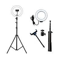 Кольцевая лампа светодиодная 26 см со штативом 210 см для профессиональной съемки + Подарок