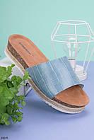 Шлепанцы женские голубые на платформе 4 см эко-кожа, фото 1