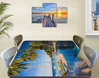 Виниловая наклейка на стол Пальмы и синяя вода самоклеющаяся пленка с рисунком море, синий 850*1450 мм