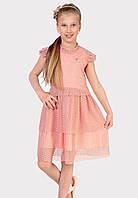 Нежное, изящное платье из эластичной сетки в горошек-флок   для маленькой принцессы