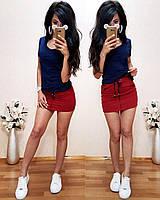 Стильный летний костюм, турецкий трикотаж S/M/L/XL (темно-синий/красный), фото 1