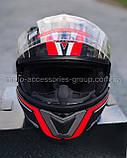 Шлем модуляр закрытый с откидным подбородком+очки BLD-160 ЧЕРНЫЙ с рисунком красно-белым, фото 2