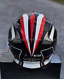 Шлем модуляр закрытый с откидным подбородком+очки BLD-160 ЧЕРНЫЙ с рисунком красно-белым, фото 4