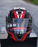 Шлем модуляр закрытый с откидным подбородком+очки BLD-160 ЧЕРНЫЙ с рисунком красно-белым, фото 3