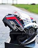 Шлем модуляр закрытый с откидным подбородком+очки BLD-160 ЧЕРНЫЙ с рисунком красно-белым, фото 6