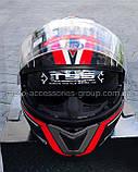 Шлем модуляр закрытый с откидным подбородком+очки BLD-160 ЧЕРНЫЙ с рисунком красно-белым, фото 5
