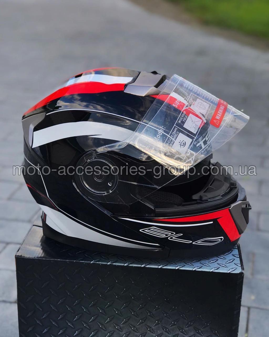 Шлем модуляр закрытый с откидным подбородком+очки BLD-160 ЧЕРНЫЙ с рисунком красно-белым