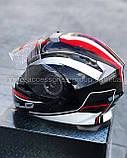 Шлем модуляр закрытый с откидным подбородком+очки BLD-160 ЧЕРНЫЙ с рисунком красно-белым, фото 7