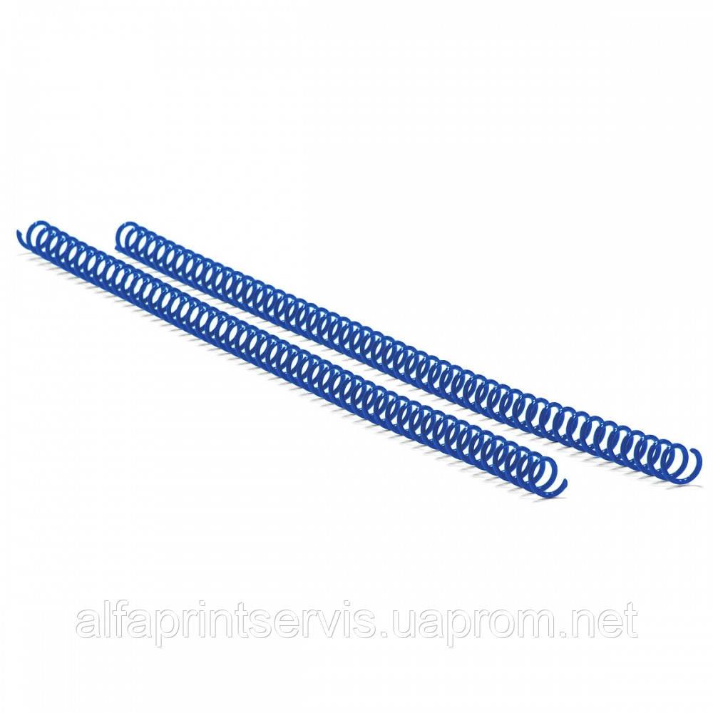 Спираль пластиковая Agent A4, 4:1, 14мм, син, уп/100