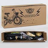 """Велосипед 14"""" дюймов 2-х колёсный """"CORSO""""  Желтый, ручной тормоз, звоночек, сидение с ручкой, доп. колеса, фото 4"""