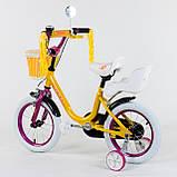 """Велосипед 14"""" дюймов 2-х колёсный """"CORSO""""  Желтый, ручной тормоз, звоночек, сидение с ручкой, доп. колеса, фото 2"""