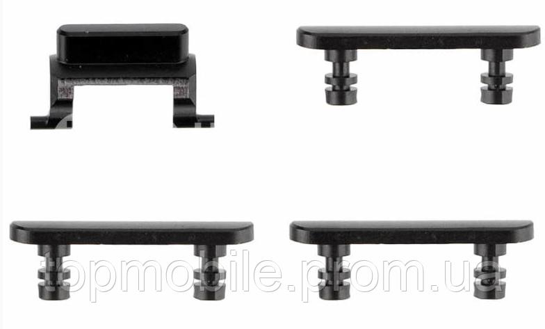 Комплект боковых кнопок корпуса iPhone 7 Plus, черный глянцевый, Jet Black, полный комплект