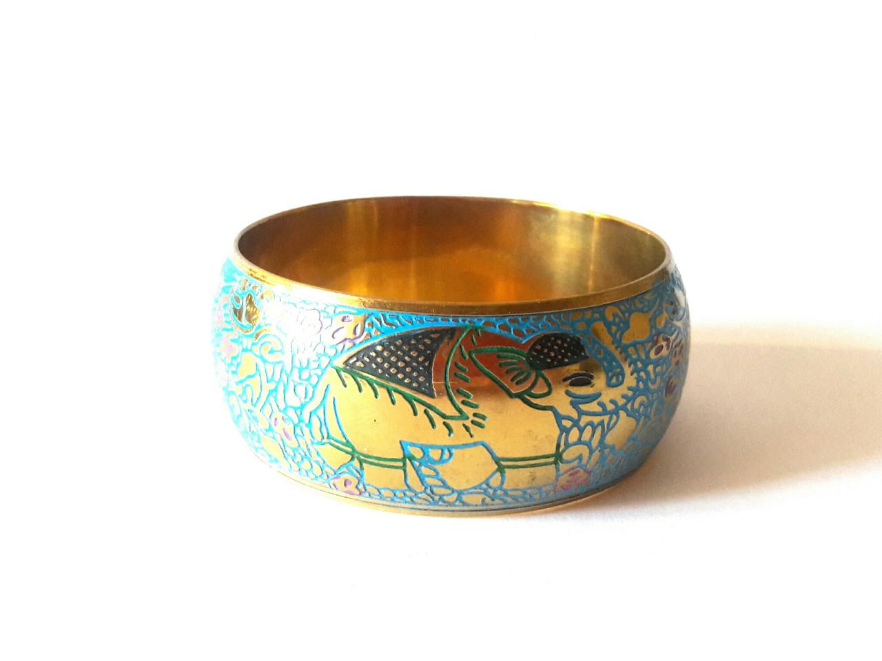 Браслет счастья и богатства Слоны. Расписной, синий с золотом, Индия
