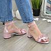 Босоніжки жіночі рожеві на невисокому каблучку. Натуральна шкіра сатин, фото 3
