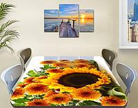 Наклейка на стол Подсолнух, пленка самоклеющаяся для декора столов мебели, желтые цветы, желтый, 600*1000 мм