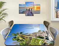 Виниловая наклейка на стол Пальма Скалы и Вода самоклеющаяся пленка с рисунком море, голубой 600*1000 мм