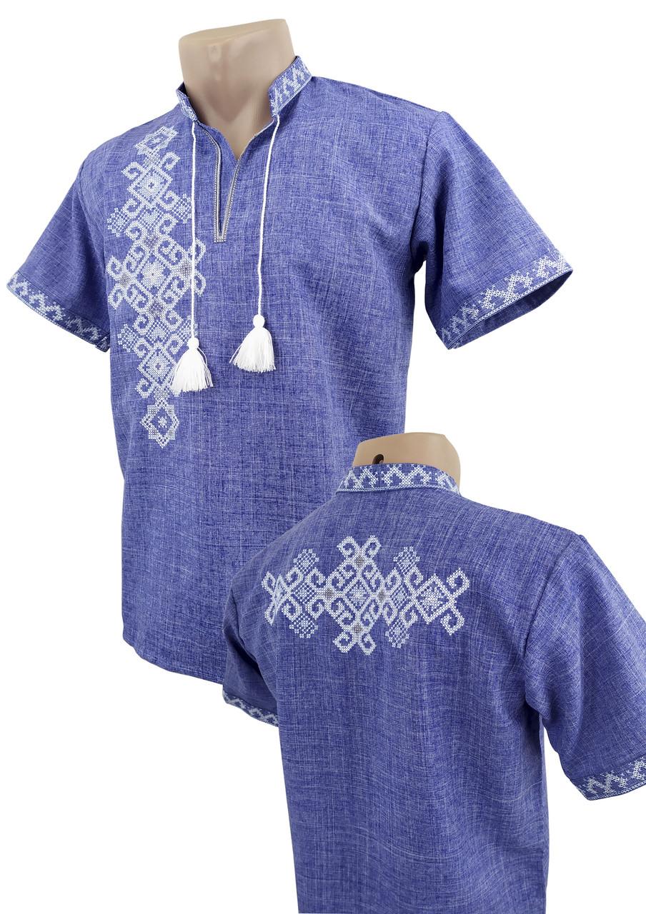 Джинсовая подростковая вышиванка для мальчика с вышивкой на спине с коротким рукавом