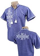 Джинсовая подростковая вышиванка для мальчика с вышивкой на спине с коротким рукавом, фото 1