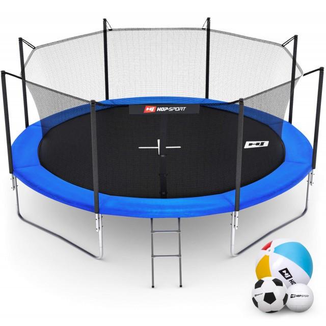 Батут с внутренней сеткой 427 см синий Hop-Sport 14ft для прыжков