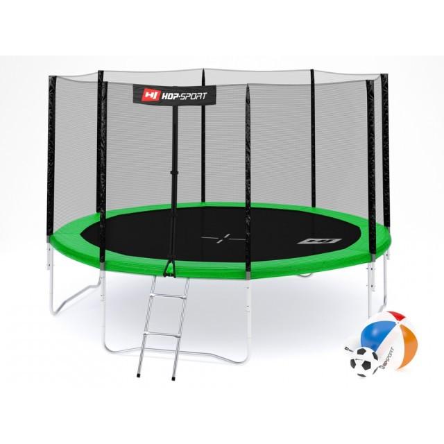 Батут с внешней сеткой 366 см зеленый Hop-Sport 12ft green 4 ноги (опоры)