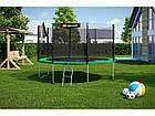 Батут с внешней сеткой 366 см зеленый Hop-Sport 12ft green 4 ноги (опоры), фото 2