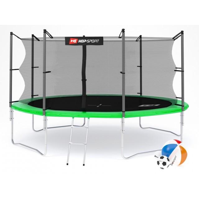 Батут с внутренней сеткой 427 см зеленый Hop-Sport 14ft green 4 ноги (опоры)