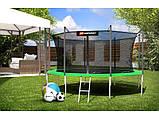 Батут с внутренней сеткой 427 см зеленый Hop-Sport 14ft green 4 ноги (опоры), фото 2