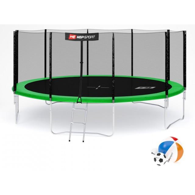 Батут с внешней сеткой 488 см зеленый Hop-Sport 16ft green 4 ноги (опоры)