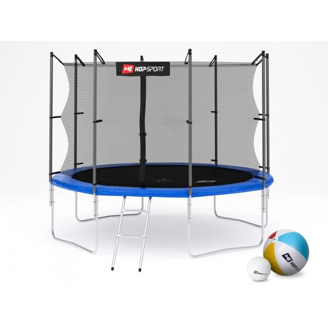 Батут для стрибків з внутрішньої сіткою 305 см + м'ячі у подарунок Hop-Sport 10ft синій
