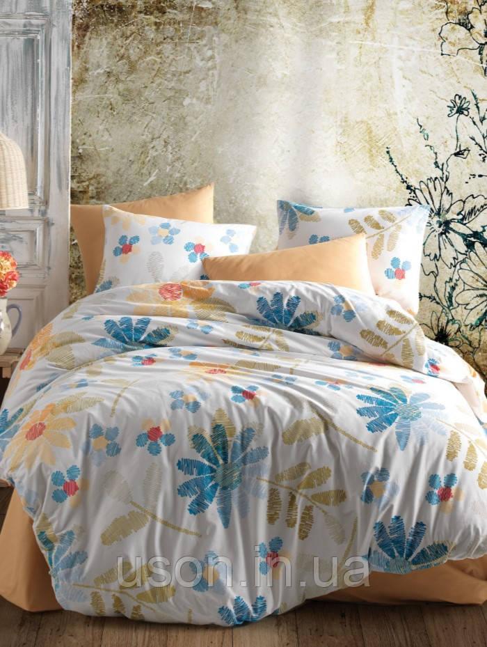 Комплект постельного белья ранфорс ТМ Majoly 200*220   Moderna flowers v1 Mavi