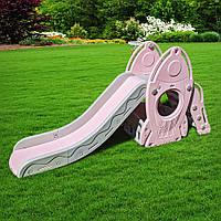 """Детская горка с домиком и баскетбольным кольцом """"Космический корабль"""" L-HJ01-8 цвет:розовый"""