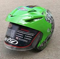 Шлем зеленый  с  рисунком  без бороды AD-168