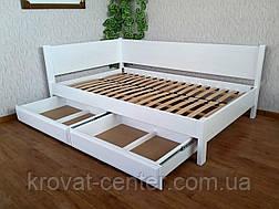 """Біла полуторне ліжко з дерева з висувними ящиками """"Шанталь"""" від виробника, фото 2"""