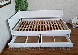"""Біла полуторне ліжко з дерева з висувними ящиками """"Шанталь"""" від виробника, фото 3"""