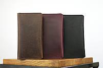 """Кожаный кошелек на купюру марсалового цвета """"travel case"""", фото 3"""
