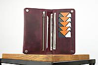 """Кожаный кошелек на купюру марсалового цвета """"travel case"""", фото 6"""