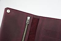 """Кожаный кошелек на купюру марсалового цвета """"travel case"""", фото 2"""