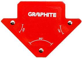 Зварювальний кутник магнітний Verto GRAPHITE 56H901, 82 x 120 x 13 мм, кут 45 або 90 град., сила 11.