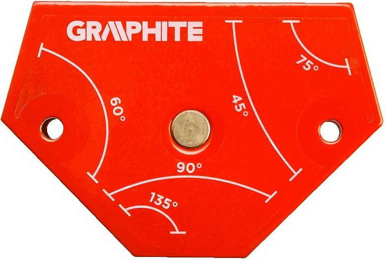 Cварочный угольник магнитный Verto GRAPHITE 56H904, 64x95x14мм, угол 45, 60, 75, 90, 135град.,сила 1