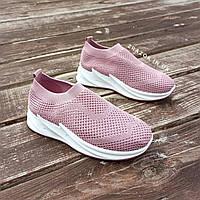 Кроссовки слипоны без шнурков на толстой подошве текстильные розовые белые летние в стиле shark adidas