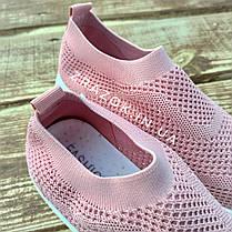 Кросівки сліпони без шнурків на товстій підошві текстильні рожеві білі літні в стилі shark adidas, фото 3
