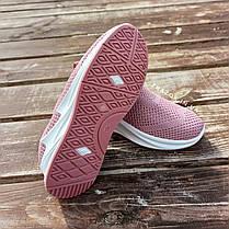 Кросівки сліпони без шнурків на товстій підошві текстильні рожеві білі літні в стилі shark adidas, фото 2