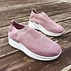 Кросівки сліпони без шнурків на товстій підошві текстильні рожеві білі літні в стилі shark adidas, фото 4