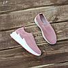 Кросівки сліпони без шнурків на товстій підошві текстильні рожеві білі літні в стилі shark adidas, фото 5