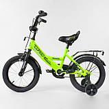 """Велосипед 12"""" дюймов 2-х колёсный """"CORSO""""  Салатовы, ручной тормоз, звоночек, сидение с ручкой, доп. колеса, фото 2"""