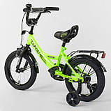 """Велосипед 12"""" дюймов 2-х колёсный """"CORSO""""  Салатовы, ручной тормоз, звоночек, сидение с ручкой, доп. колеса, фото 3"""